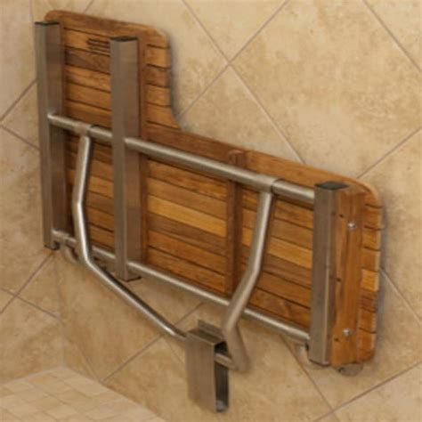 ada folding teak shower seat ada compliant foldup teak shower seats and benches