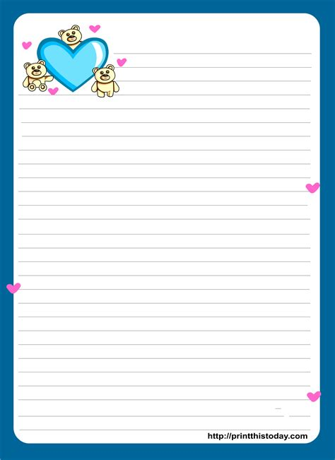printable paper letter miss you love letter pad stationery lined stationery