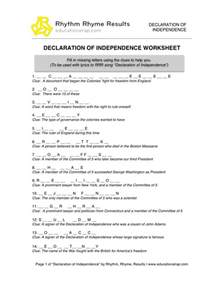 declaration of independence worksheets abitlikethis