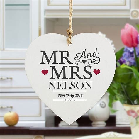 mr and mrs personalised wooden heart by oli & zo