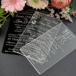 11b engraved acrylic wedding invitations unique wedding invitations engraved wedding