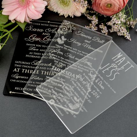 engraved wedding invitation 11b engraved acrylic wedding invitations unique wedding invitations engraved wedding