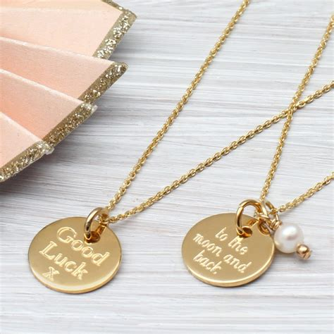 Discs Necklace personalised gold disc charm necklace hurleyburley