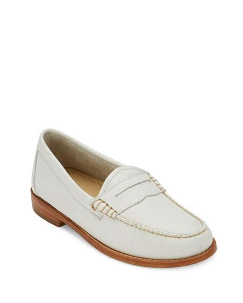 g h bass co loafers g h bass co leather loafers in white for