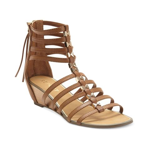 gladiator sandals report megan gladiator wedge sandals in brown lyst