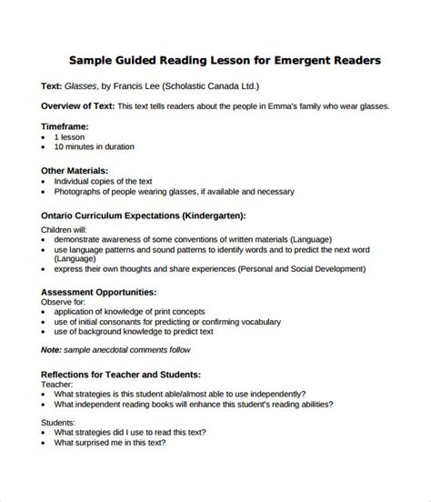 literacy lesson plan template sle guided reading lesson plan 9 documents in pdf word