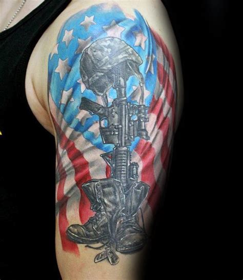 soldiers cross tattoo 50 fallen soldier designs for memorial ideas