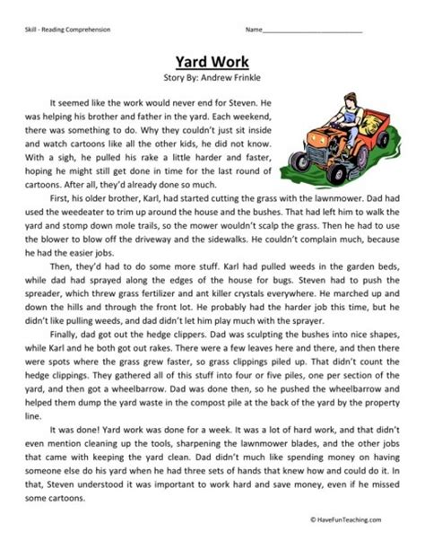 Free Printable 5th Grade Reading Comprehension Worksheets by Reading Comprehension Worksheet Yard Work
