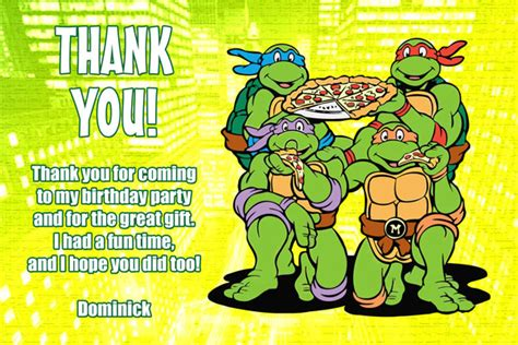 turtle thank you card template mutant turtles birthday invitations tmnt