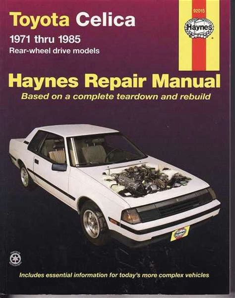 free car repair manuals 1982 toyota celica spare parts catalogs toyota celica rear wheel drive models 1971 1985 haynes owners service repair manual