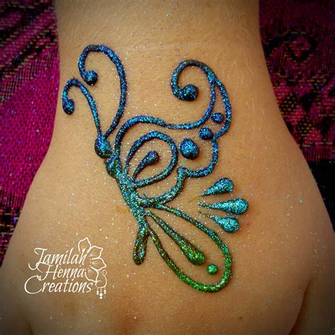 henna glitter tattoo butterfly henna www jamilahhennacreations henna