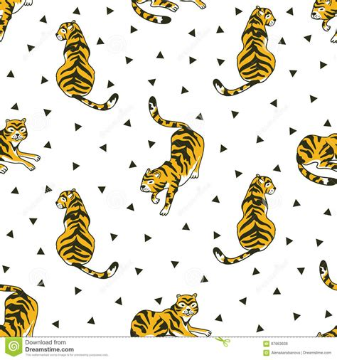 tiger pattern seamless vector vector seamless pattern with tigers and triangles isolated
