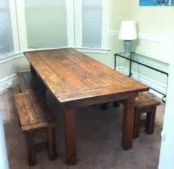 Diy Kitchen Table Bench White Farm House Table And Benches Diy Projects