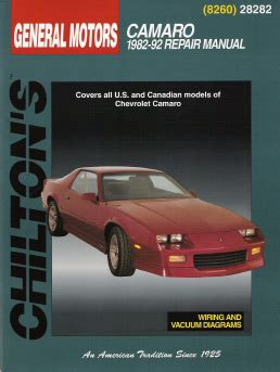 old car repair manuals 1992 chevrolet camaro on board diagnostic system 1982 1992 chevrolet camaro chilton s total car care manual