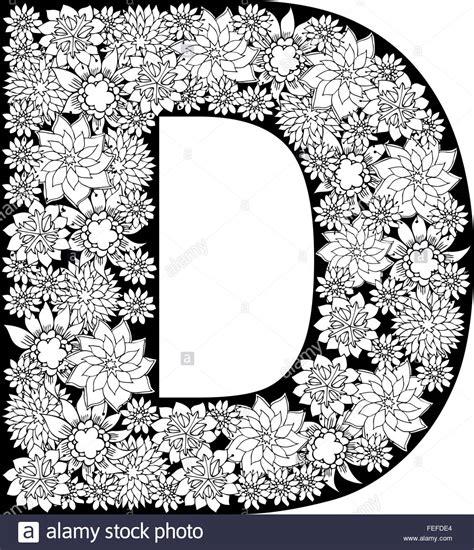 Hand drawn floral alphabet design. Letter D Stock Vector ... D Alphabet Design