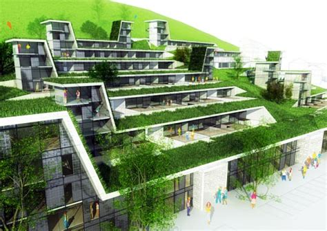 sustainable apartment design green roofed hillside homes blend into their environs