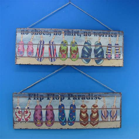 Handcrafted Plaques - buy wooden flip flop wall plaques 24 inch set of 2