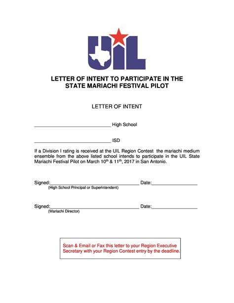 letter intent templates samples job school