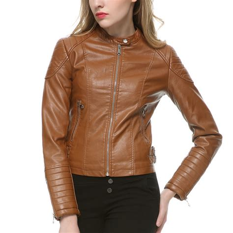buy womens biker brown faux leather jacket womens jacket to