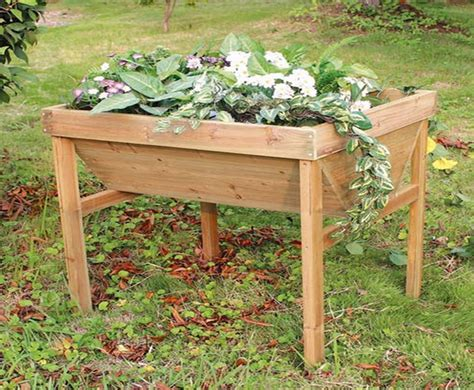 raised wooden planter table w75cm x d75cm 163 59 99