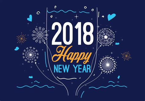 new year 2018 color happy new year 2018 blue color vector free