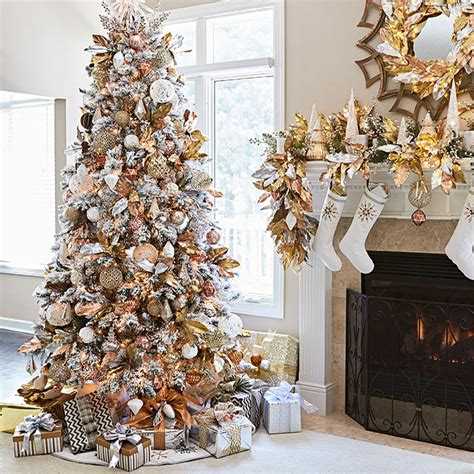 artificial flocked tree with metallic copper silver gold