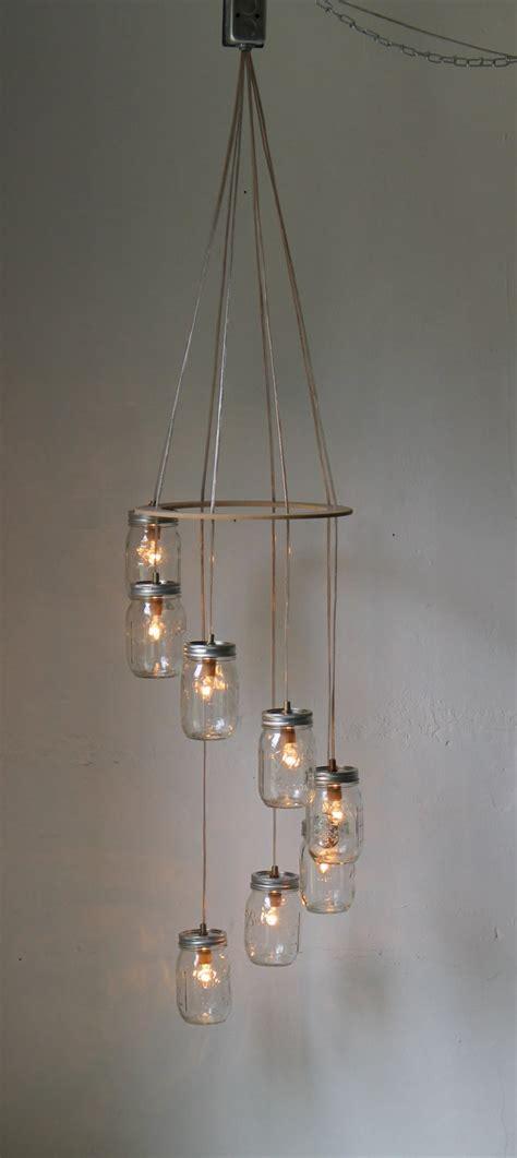 Swag Light Fixture Spiral Jar Chandelier Rustic Hanging Pendant Lighting Fixture 8 Clear Jars Modern