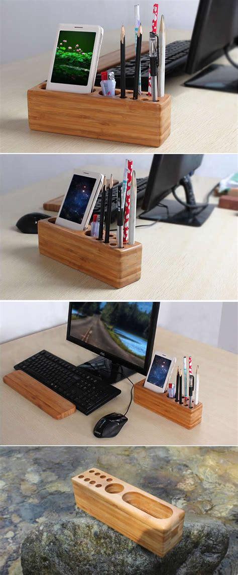 desk phone stand organizer wood pen pencil holder cell phone holder stand wooden desk