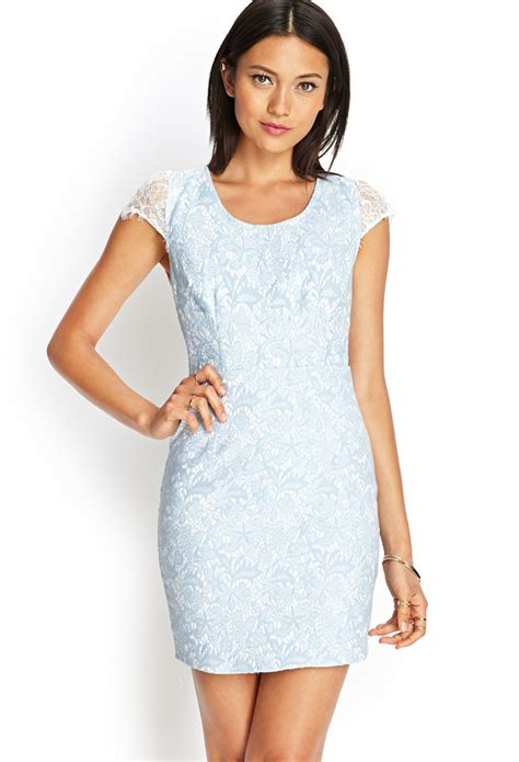 Forever 21 Open Back Lace Sheath Dress In Blue White