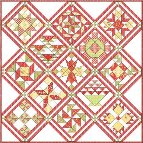 quilt pattern on point triple sashing with nine patch cornerstones but on point