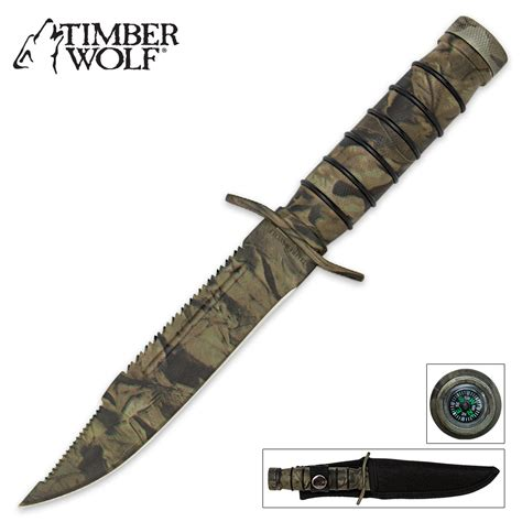 Dagger Camo Free Batre Mxjo 1 timber wolf camo jungle survival knife with sheath and survival kit kennesaw cutlery