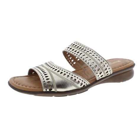 naturalizer 2610 womens jenaya gold slide sandals shoes 8 5 narrow aa n bhfo