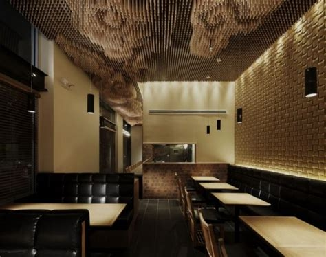 beautiful restaurant ceiling that made of wooden sticks