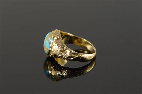 egyptian revival turquoise vintage yellow gold ring size  property room