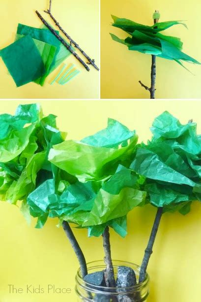 Tissue Paper Tree Craft - tissue paper trees housing a forest