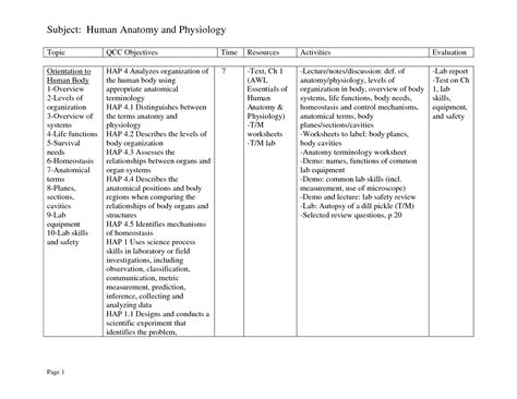 Free Anatomy Worksheets For College