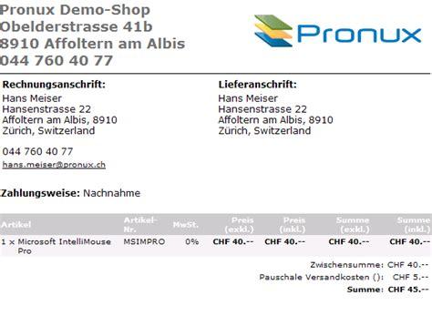 Rechnung Kunde Schweiz Oscommerce Adminbereich 2 Schweiz