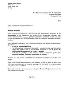 Demande De Cotation Lettre Application Letter Sle Modele De Lettre Demande De Travaux