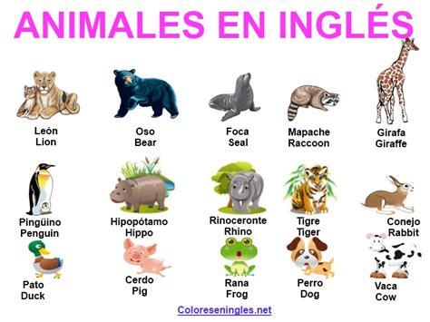 imagenes de animales en ingles y español los animales en ingl 233 s colores en ingles