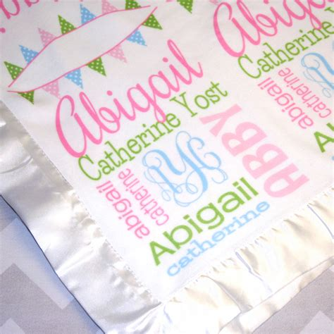 personalized baby blanket satin edge by monogrammarketplace