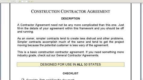 Construction Contractor Agreement Youtube Generic Construction Contract Template