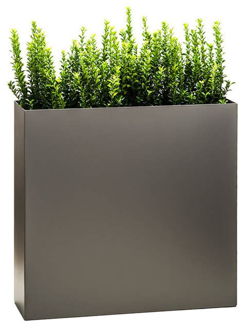 Modern Outdoor Planters by Partition Tower Planter Pewter Large Modern Outdoor