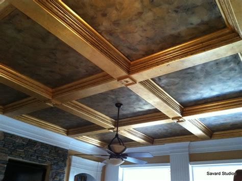 savard studios coffered ceiling trim pop with gold