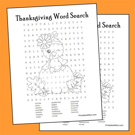 printable turkey word search thanksgiving word search printable printables 4 mom
