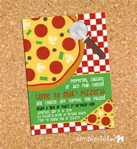 pizza invitation pizzeria birthday invite class pizza