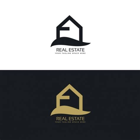 real estate house logo black and gold real estate logo with a house vector free