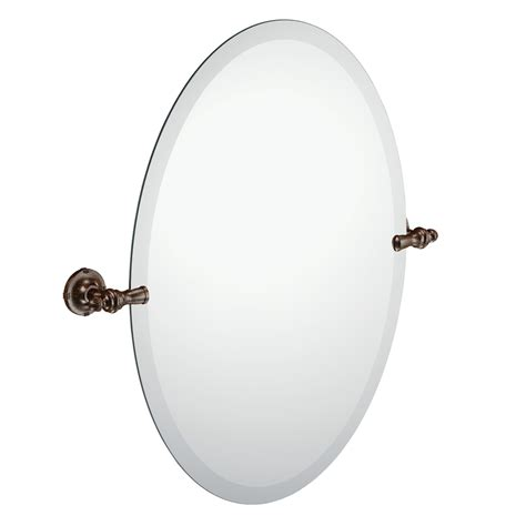 oval frameless bathroom mirror shop moen moen gilcrest 21 26 in x 26 in oil rubbed bronze