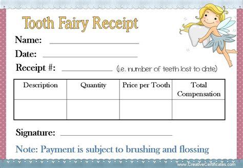 tooth certificate template tooth receipt template free best business template