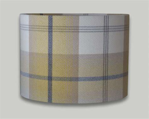 60cm drum l shade balmoral ochre yellow grey tartan check tweed drum