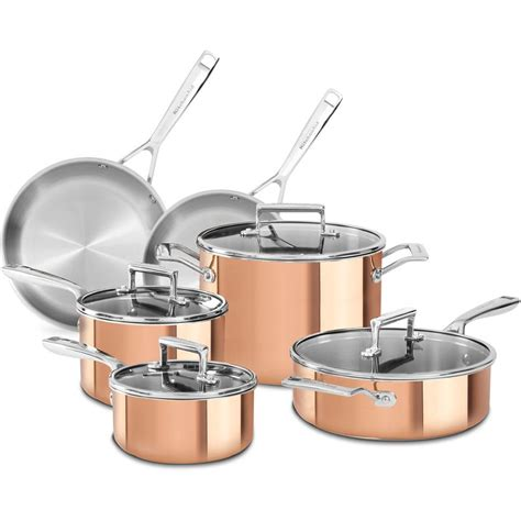 Kitchenaid 10 Cookware Set kitchenaid 10 copper cookware set with lids